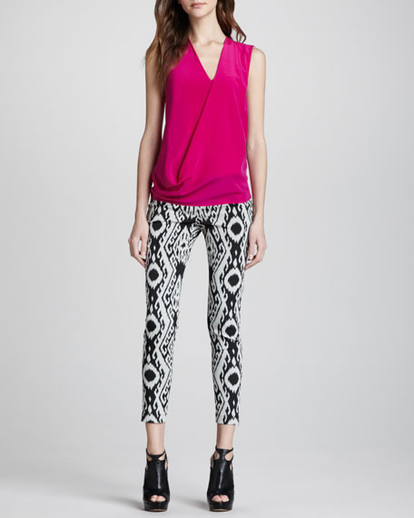 Ikat-Print Zip Leggings