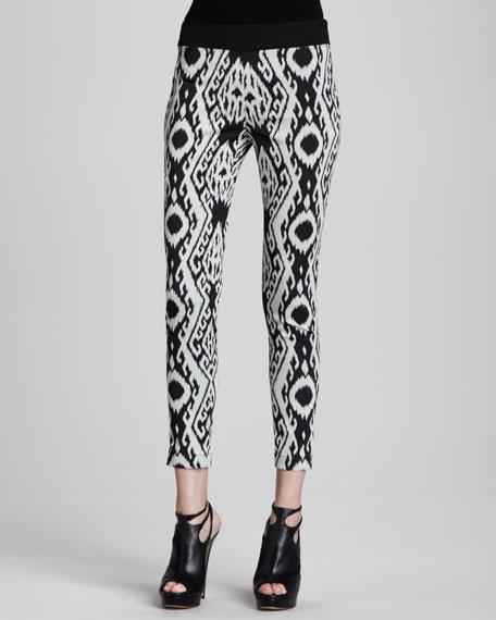 Ikat-Print Zip Leggings