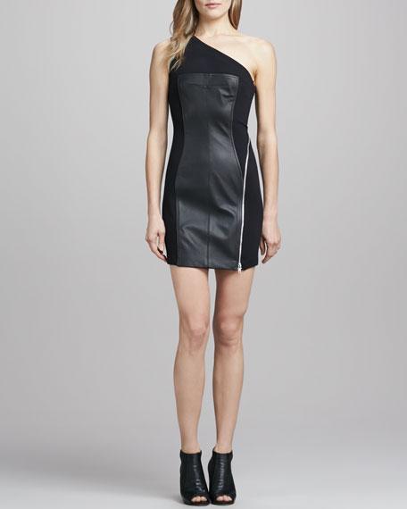 One-Shoulder Ponte/Leather Dress