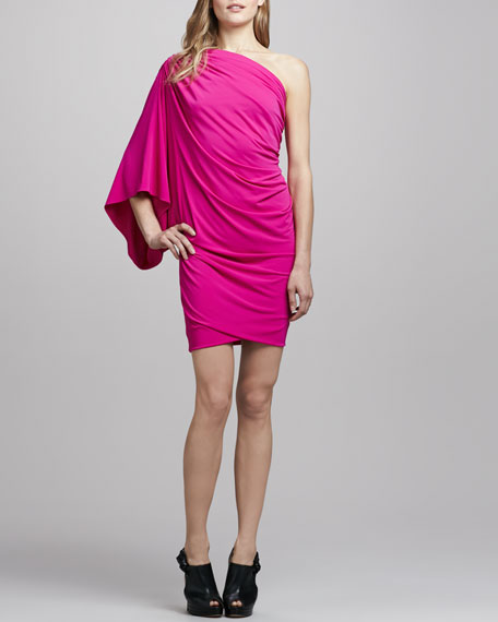 Draped One-Shoulder Butterfly Dress