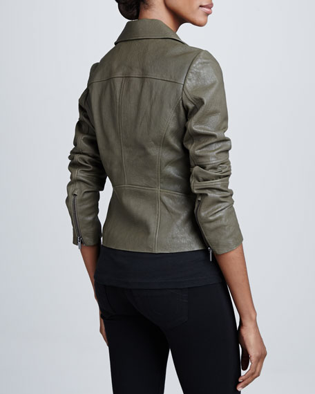 Textured Leather Moto Jacket