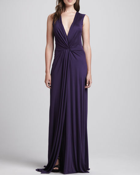 Twist-Front Jersey Gown