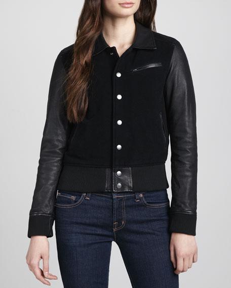 Varsity Leather-Sleeve Jacket