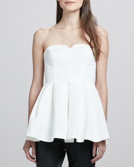 Jill Strapless Peplum Top, White