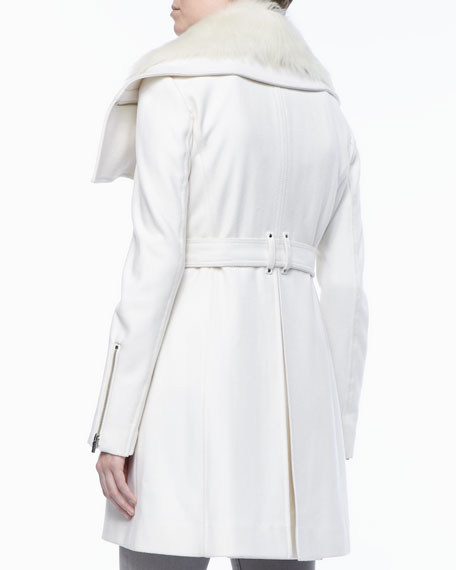 Wool Fur-Collar Collar Coat