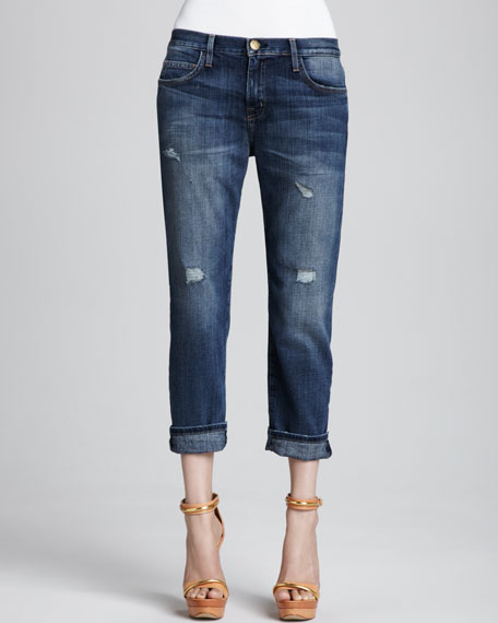 Current/Elliott Boyfriend Loved Destroyed Cuffed Jeans