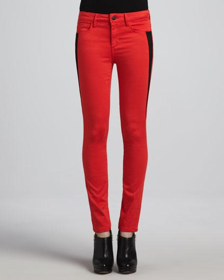 Oblique Contrast-Stripe Skinny Jeans