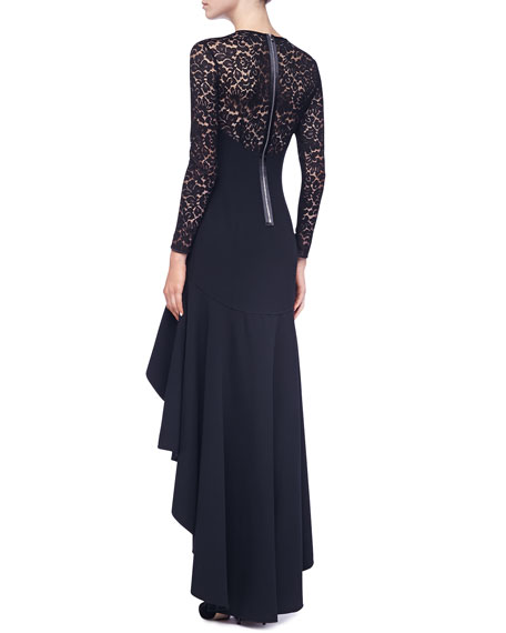 Lace-Illusion Hi-Low Ruffled Gown