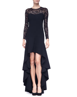 Michael Kors Lace-Illusion Hi-Low Ruffled Gown
