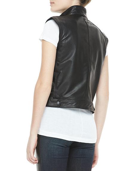 Leather Zip Moto Vest