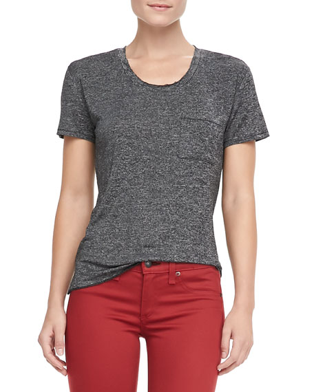 Heathered Pocket Tee, Charcoal Gray