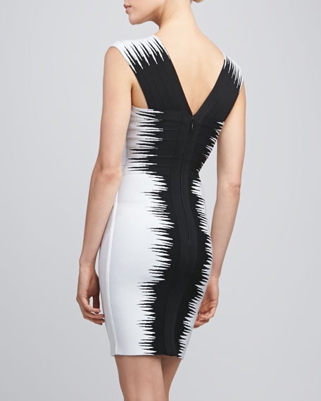 Zigzag Printed Bandage Dress