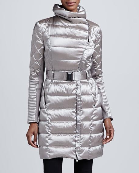Metallic Belted Puffer Coat