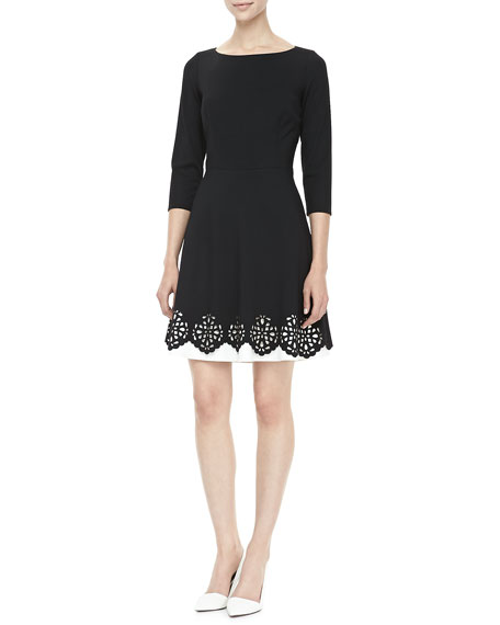 3/4-Sleeve Eyelet-Hem Fit-and-Flare Dress