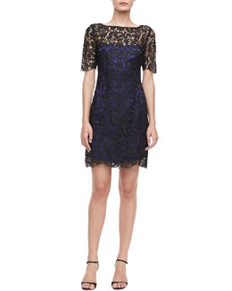 Laundry by Shelli Segal Short-Sleeve Lace Sheath Dress