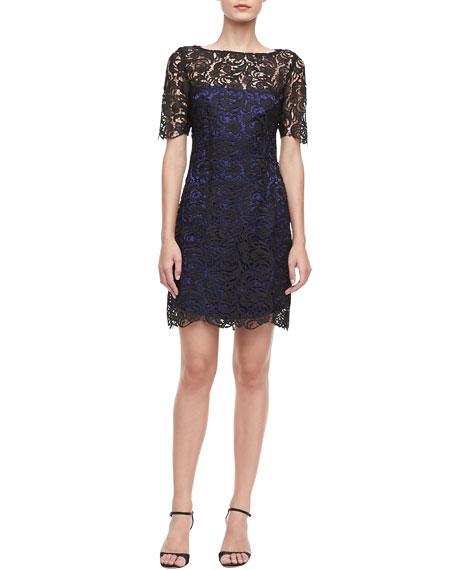Short-Sleeve Lace Sheath Dress
