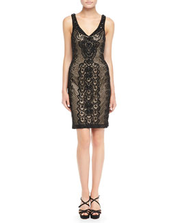 Sue Wong Lace-Overlay Cocktail Dress