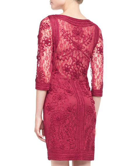 Lace Floral-Applique Cocktail Dress