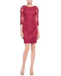 Sue Wong Lace Floral-Applique Cocktail Dress