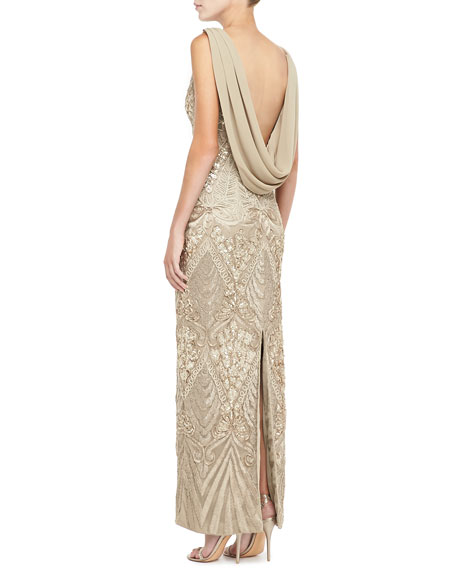 Sleeveless Draped Cowl-Back Gown