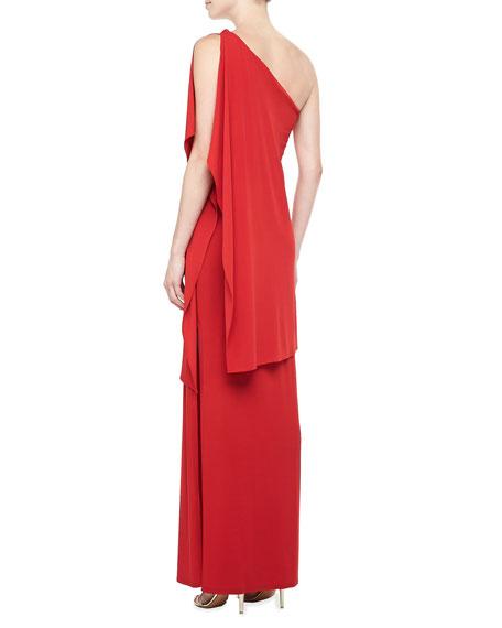 One-Shoulder Asymmetric Draped Gown