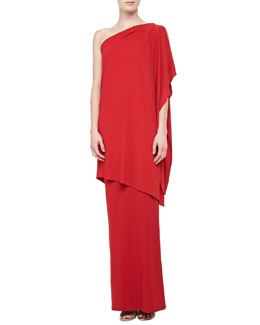 Michael Kors One-Shoulder Asymmetric Draped Gown