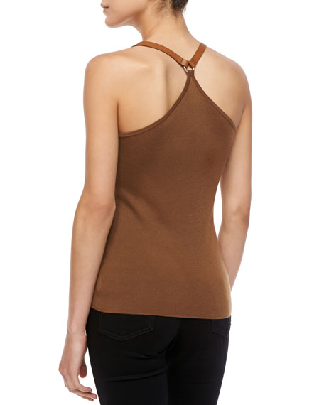 Leather-Strap Cashmere Tank