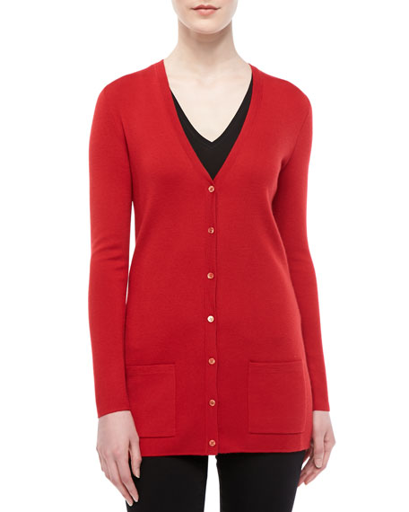 Long Cashmere Cardigan, Crimson