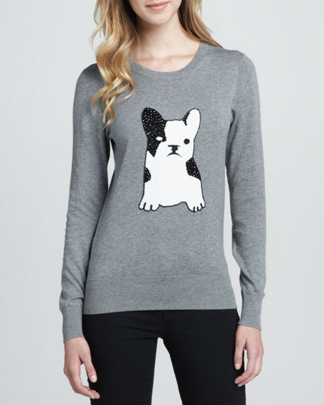 Sequined-Bulldog Pullover Sweater