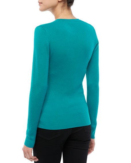 Cashmere V-Neck Top, Turquoise