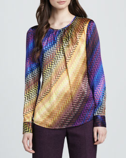 Trina Turk Phoenix Printed Ombre Blouse