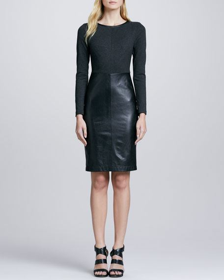 Trina Turk Sutherland Leather-Skirt Dress