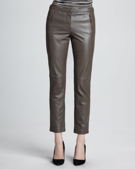 Straight-Leg Cropped Leather Pants