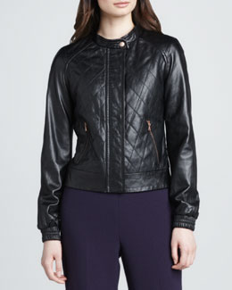 Trina Turk Antoine Quilted Leather Bomber Jacket