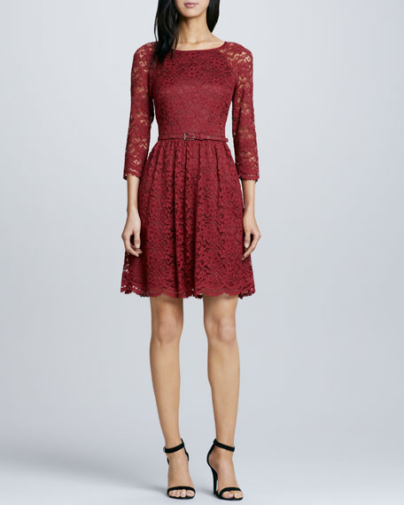 Rosalind Belted Lace Dress