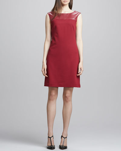 Trina Turk Gelsey Leather-Top Crepe Dress