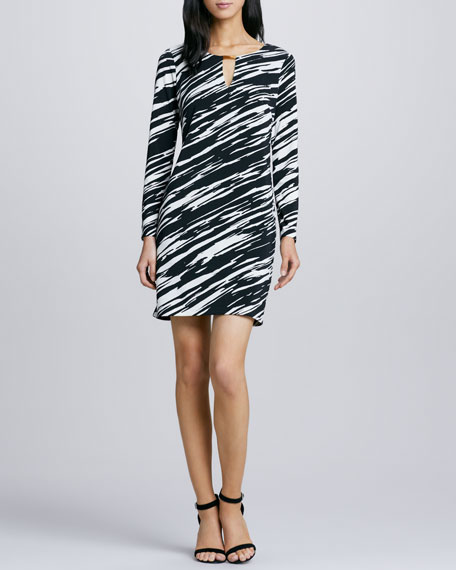 Neva Zebra-Print Jersey Dress