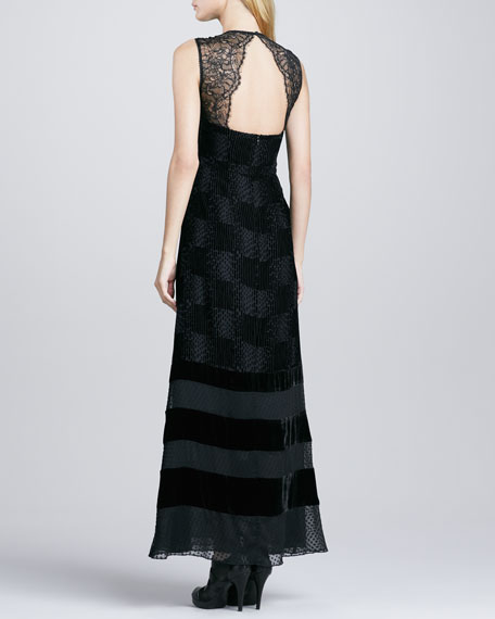 Enchanted Velvet-Stripe Gown