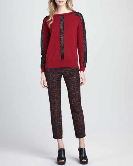 Paree Cropped Tweed Print Pants