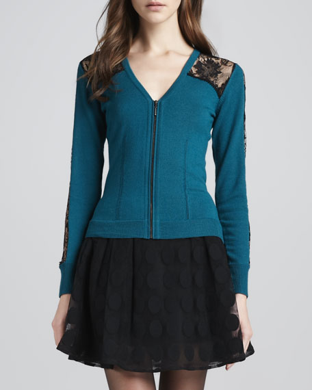Conversations Lace-Inset Zip Cardigan