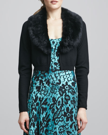 Fur-Collar Cropped Cardigan