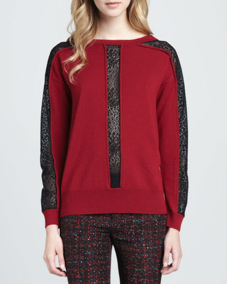 Oui Oui Sheer-Inset Pullover