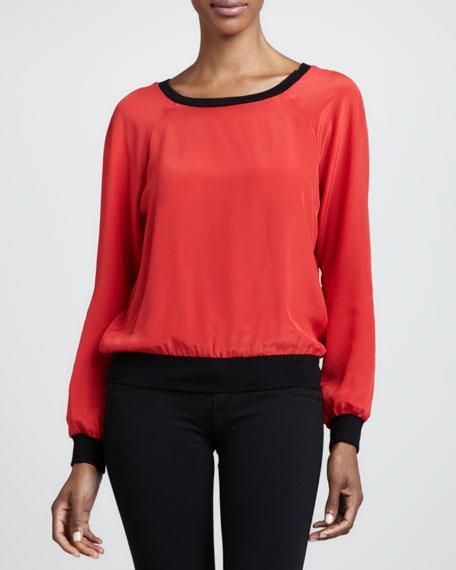 Silk & Knit Colorblock Sweatshirt