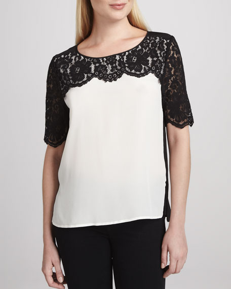 Lace-Overlay Short-Sleeve Top