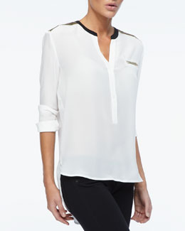 Dora Landa Metallic-Trim High-Low Tunic