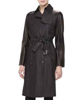 Michael Kors Denim & Leather-Sleeve Trench Coat