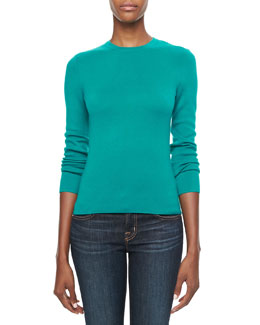 Michael Kors Long-Sleeve Cashmere Top, Turquoise
