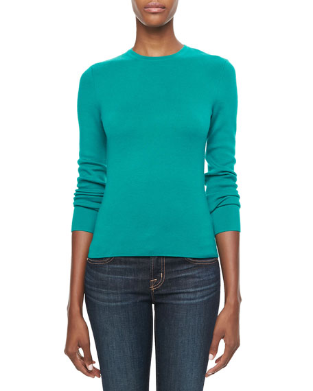 Long-Sleeve Cashmere Top, Turquoise