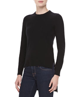 Michael Kors Cashmere High-Low Top, Black