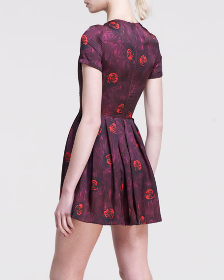 Lizzy Pleated Floral-Print Dress